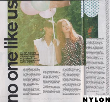 Icona Pop - Nylon - November 2012